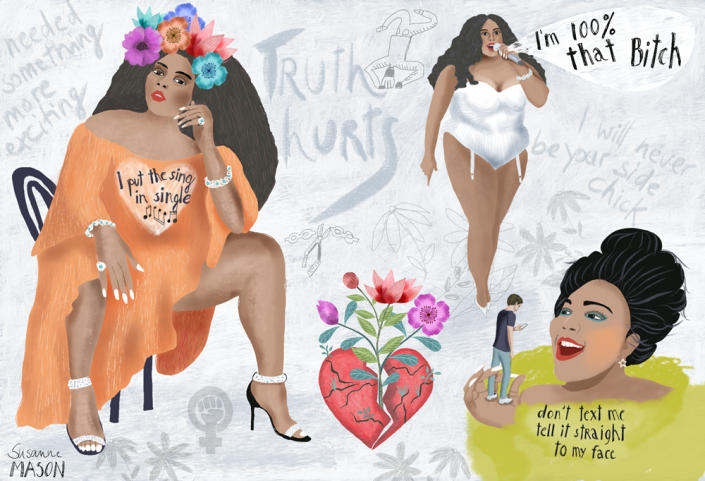 Lizzo song editorial illustration by Susanne Mason