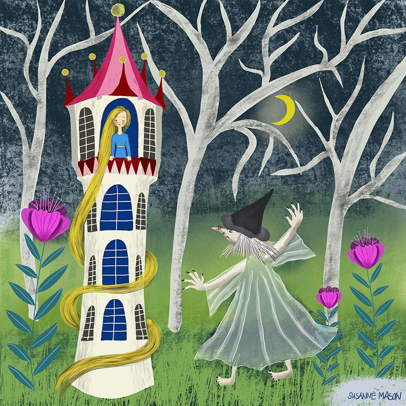 Folktale illustration, Rapunzel, by Susanne Mason