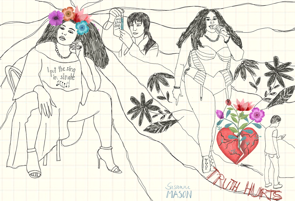 rough for Truth hurts illustration, by Susanne Mason
