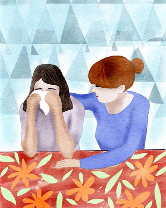 consolation, editorial illustration by Susanne Mason