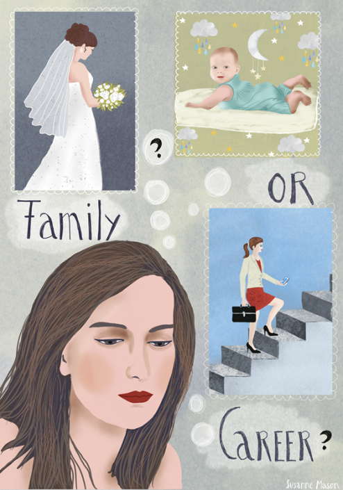 Family or career editorial illustration, by Susanne Mason