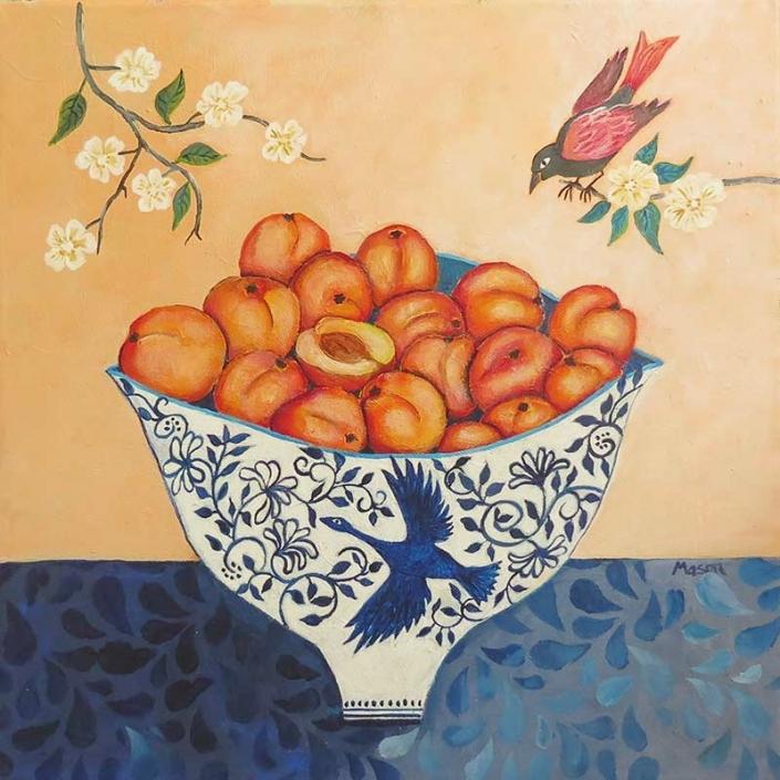 Apricots (acrylics on canvas 40x40 cm)