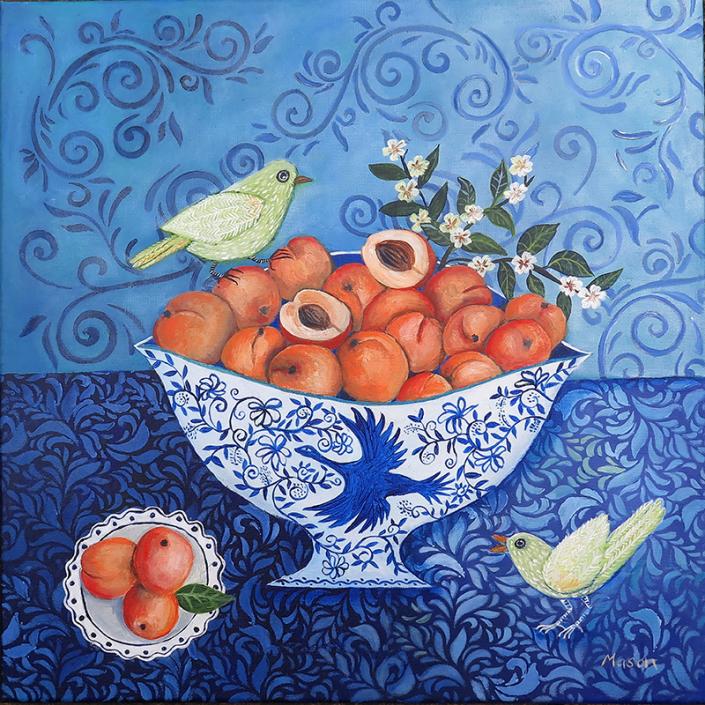 Apricots at Twilight (acrylics on canvas, 50x50cm)