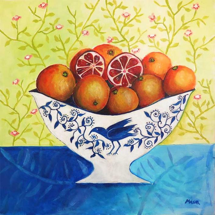 Blood Oranges (acrylics on canvas 40x40 cm)