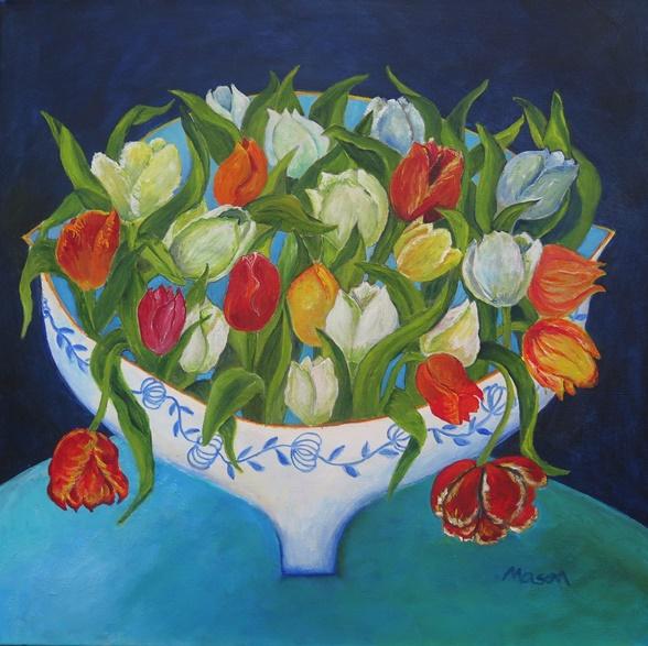 SOLD Bouquet (acrylics on canvas 50 x 50cm)
