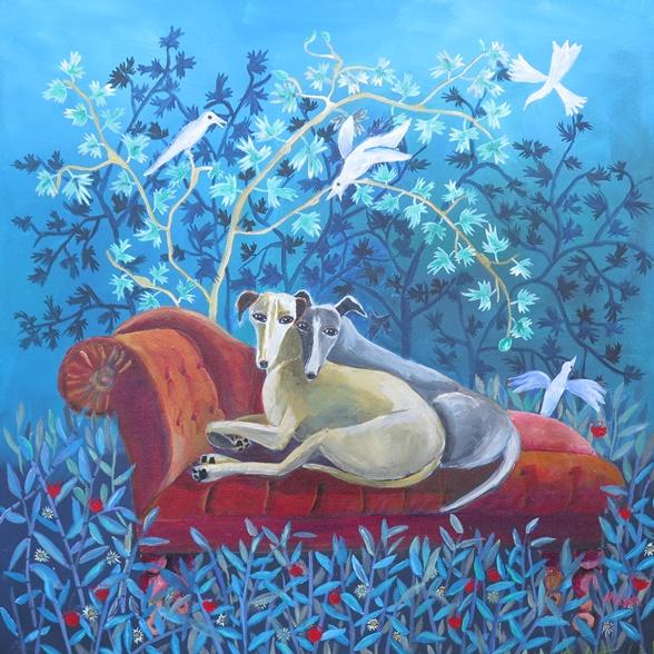 Friends, by Susanne Mason (acrylics on canvas, 50x50cm)