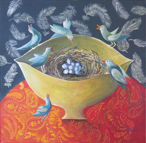 Jubilation, by Susanne Mason (acrylics on canvas, 40x40cm)