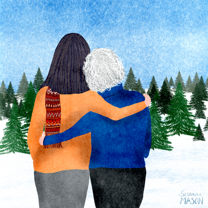 mother and daughter editorial illustration, by Susanne Mason