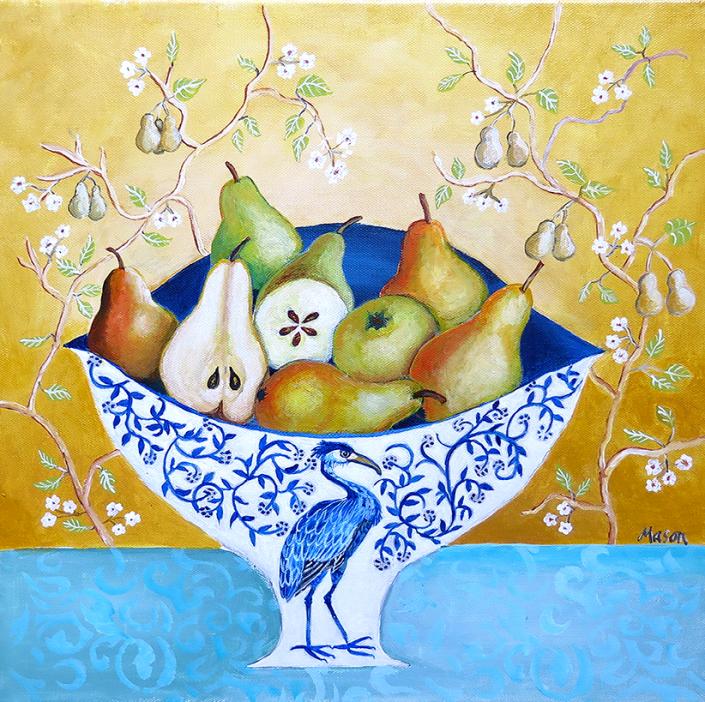 Pears (acrylics on canvas 40x40 cm)