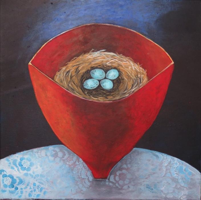 SOLD nest (acrylics on canvas 40 x 40cm)
