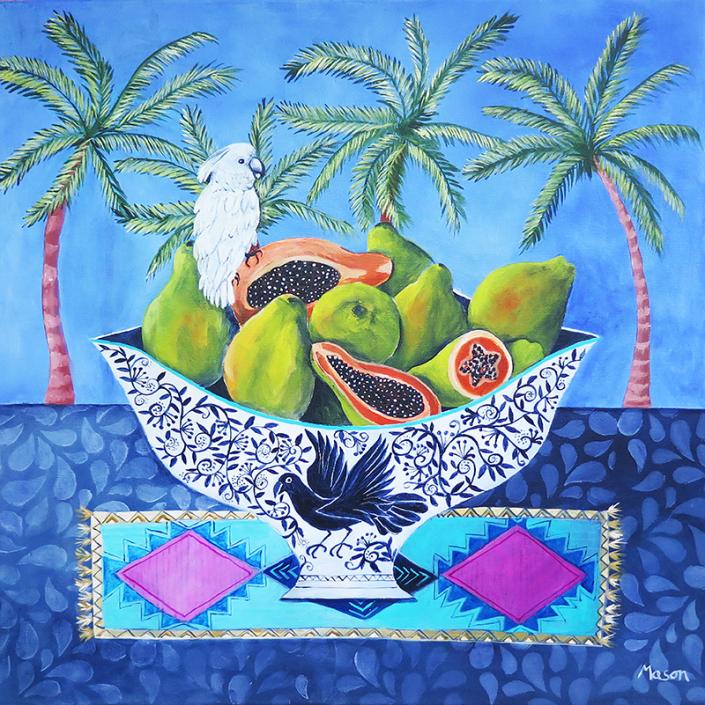 SOLD Papayas (acrylics on canvas 50x50cm)