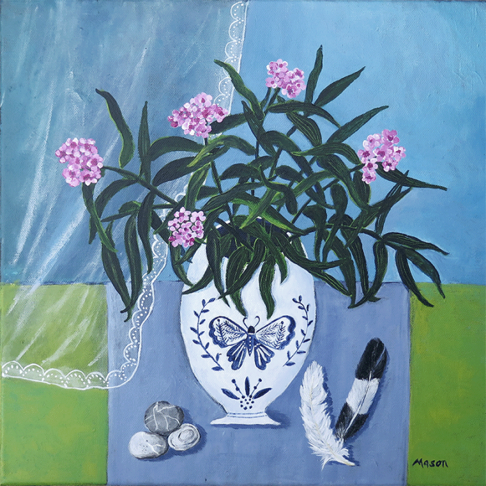 Pink Oleander (acrylics on canvas 40x40 cm)
