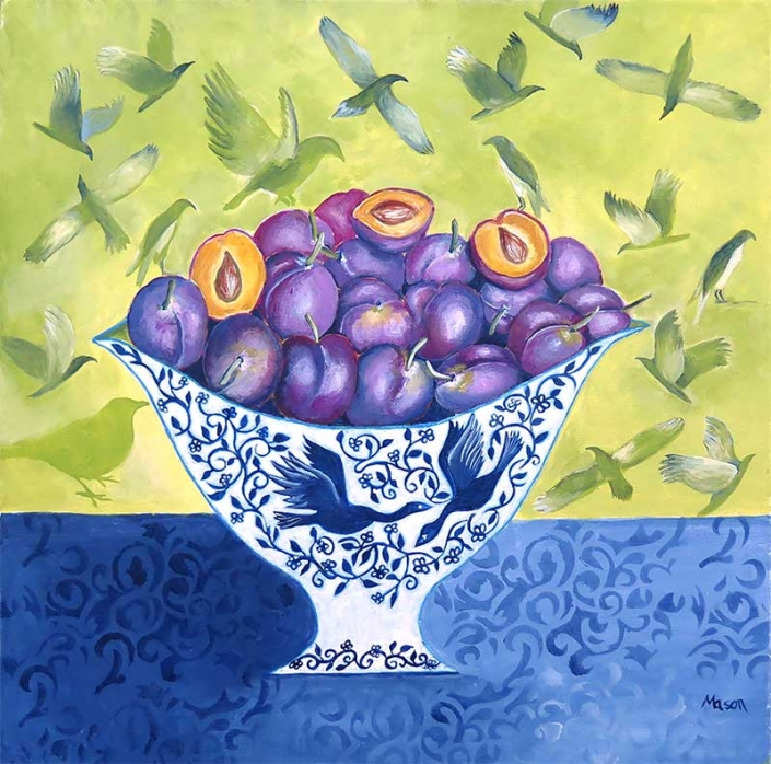 SOLD Plums (acrylics on canvas, 50x50 cm)