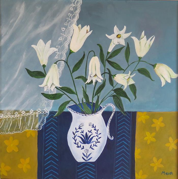 White Lillies (acrylics on canvas 50x50cm)