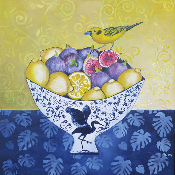 Figs, Lemons and Golden Tanager, by Susanne Mason (acrylics on canvas 50x50cm)