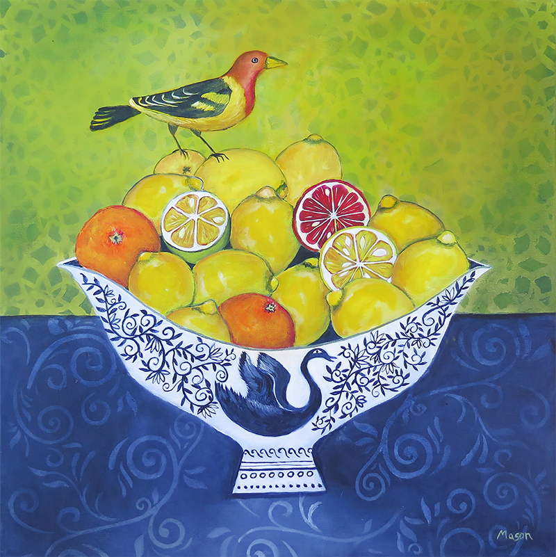 Citrus Fruits with Tanager, by Susanne Mason (acrylics on canvas 50x50 cm)