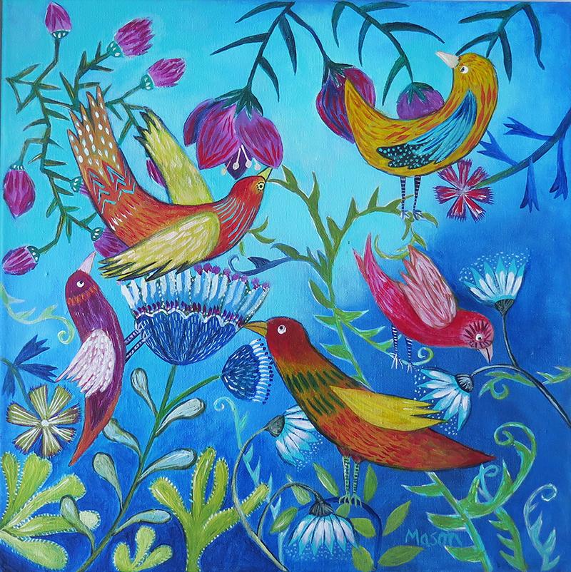 Morning Joy, by Susanne Mason (acrylics on canvas, 40x40cm)