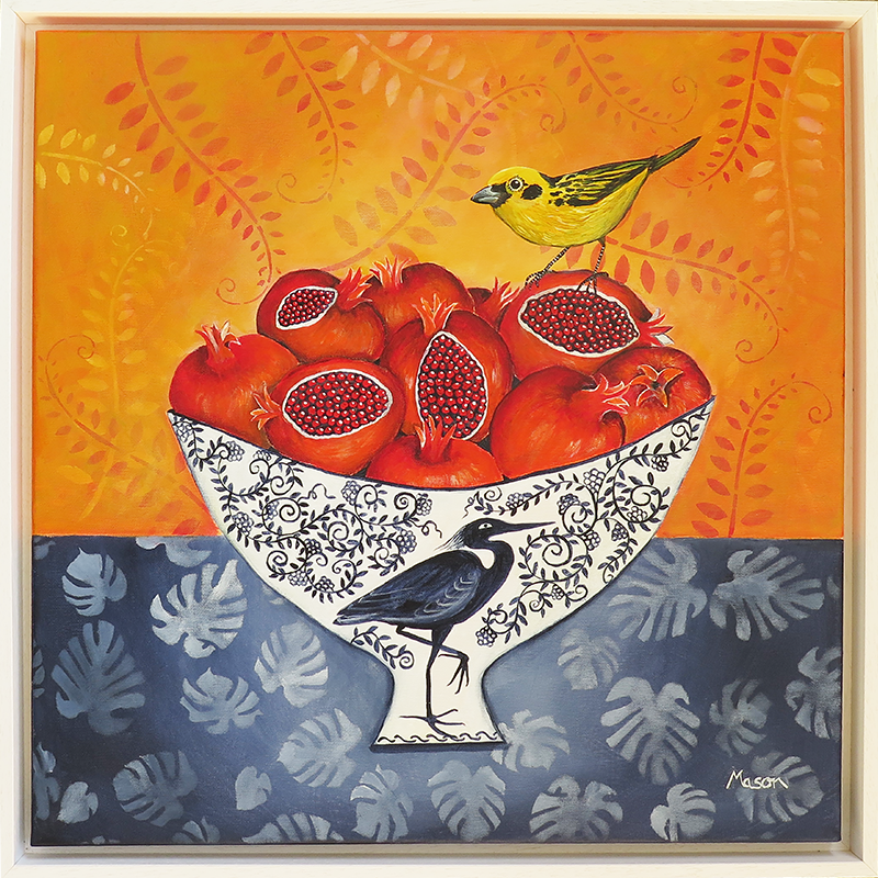 Pomegranates with Western Tanager, by Susanne Mason (acrylics on canvas, 50x50 cm)