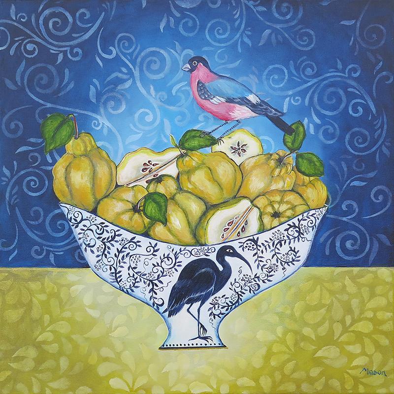 Quinces with Bullfinch, by Susanne Mason (acrylics on canvas, 50x50 cm)
