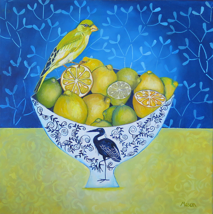 Citrus fruits with Greenfinch, by Susanne Mason (acrylics on canvas 50x50 cm)