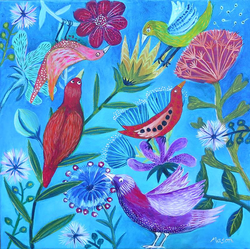 Playing Birds , by Susanne Mason (acrylics on canvas 40x40cm)