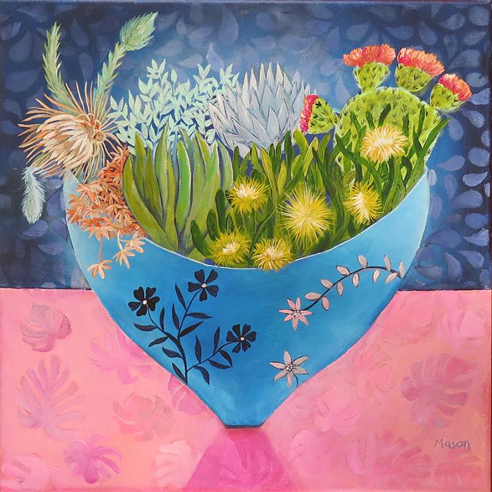 Desert garden, by Susanne Mason (acrylics on canvas 50x50 cm)