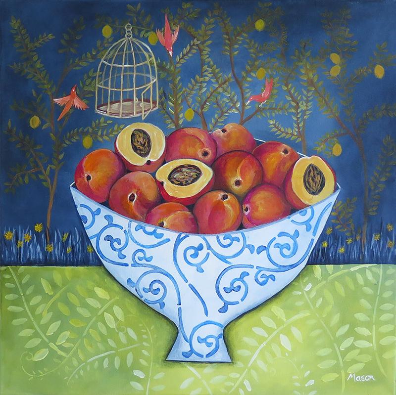 Livia's Garden, by Susanne Mason (acrylics on canvas 50x50 cm)