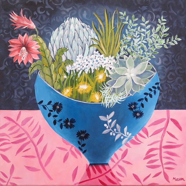 Succulence, by Susanne Mason (acrylics on canvas 50x50 cm)