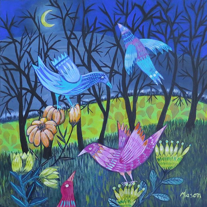 As Night falls, by Susanne Mason (acrylics on canvas 40x40 cm)