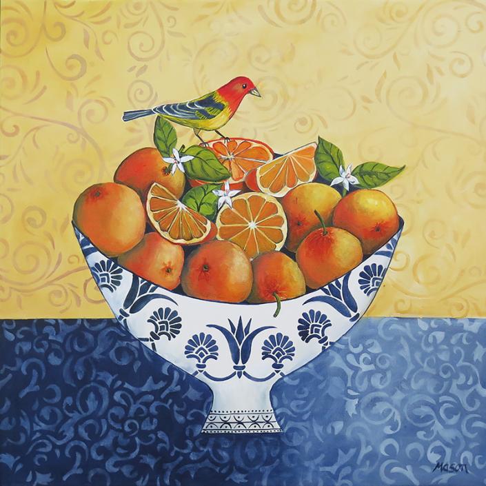 Oranges, by Susanne Mason (acrylics on canvas 50x50 cm)